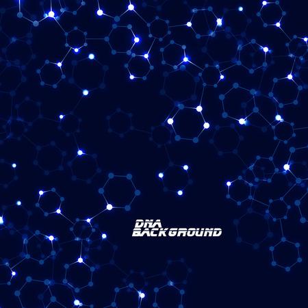 Abstracte neon-zeshoekige moleculen, moleculaire structuur van DNA, geometrische achtergrond