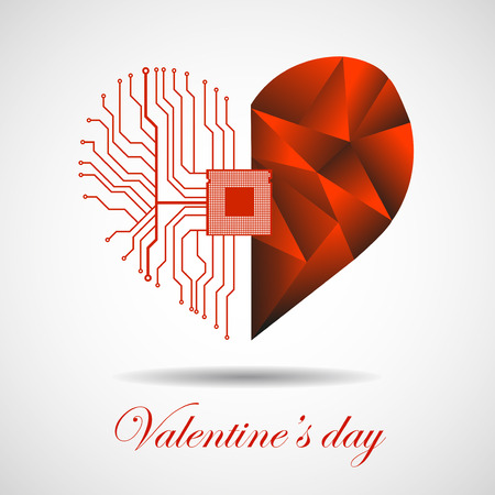 microcircuit: Abstract electronic circuit board in shape of heart, technology background. Happy Valentines Day