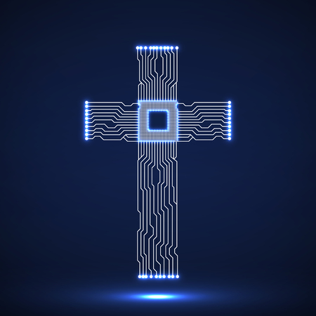 Abstract electronic circuit board in shape of cross with cpu. Christian Symbol  イラスト・ベクター素材