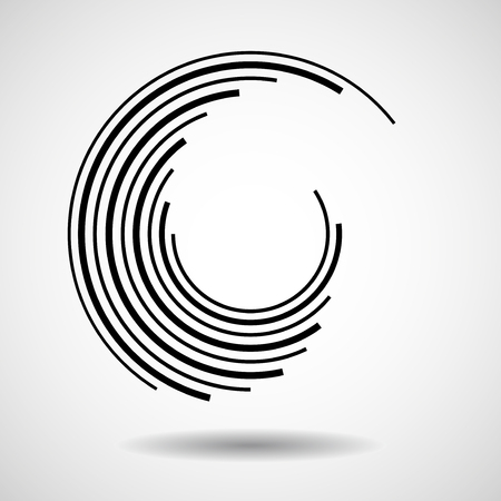 Abstract circle with lines, geometric logo, vector