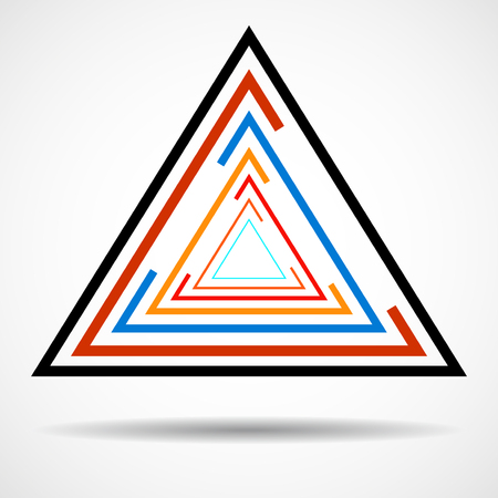 prisma: Abstract technology triangle with lines, geometric logo, vector Vectores