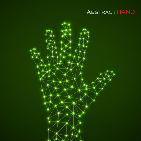 Abstract hand of man with glowing dots and lines. Modern technology concept, vector illustration eps 10