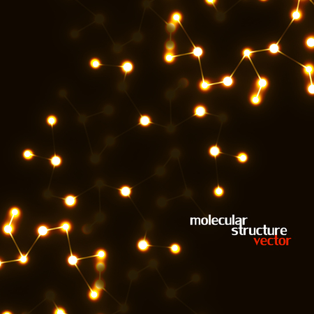 Neon molecular structure of DNA, abstract glowing background