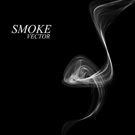smell of burning: Abstract smoke isolated on black background. Vector