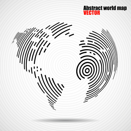 Abstract world map of radial lines, technology style. Vector Illustration