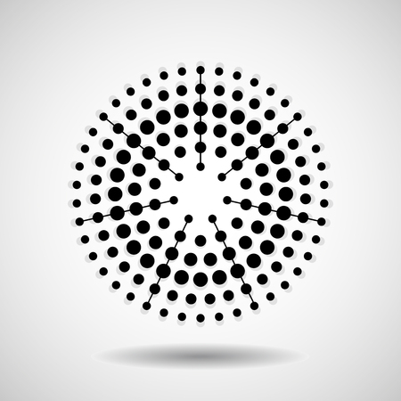 Abstract dotted circles. Dots in circular form. Vector design element Illustration