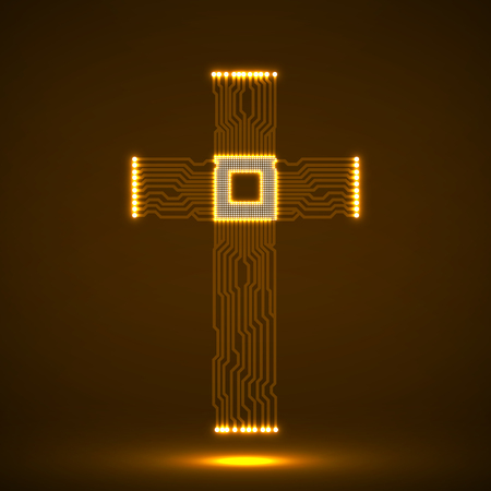 microcircuit: Abstract electronic circuit board in shape of cross with cpu. Christian Symbol. Vector