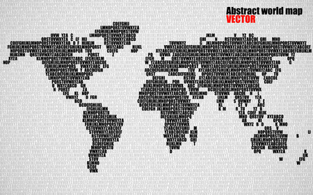 Abstract world map with letters of English alphabet. Vector background