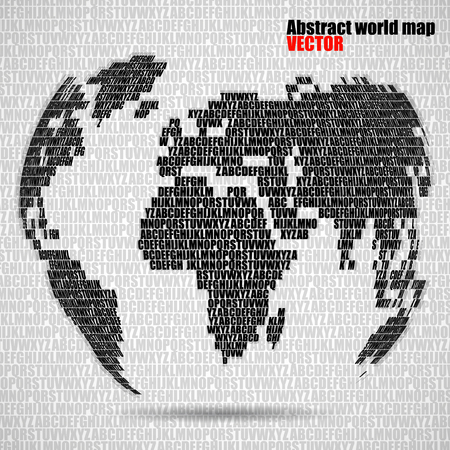 Abstract world map with letters of english alphabet vector globe abstract world map with letters of english alphabet vector globe background stock vector 73467163 gumiabroncs Image collections