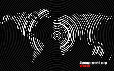 abstract swirl: Abstract world map of radial lines, technology style. Vector Illustration