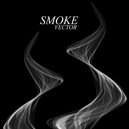 smell of burning: Abstract smoke isolated on black background Vector Illustration