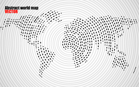 the americas: Abstract world map of radial lines, technology style. Vector Illustration