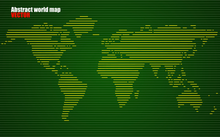 the americas: Abstract World map with lines. World stripes map in green. Vector