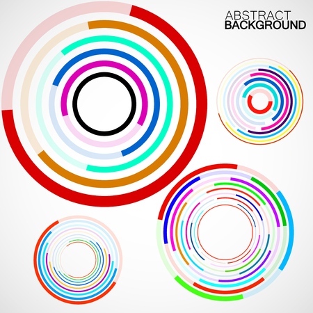 Abstract background of colorful circles with lines, technology backdrop, geometric shapes, vector illustration, eps 10