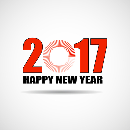 Happy New Year 2017 text design with loading icon. Vector