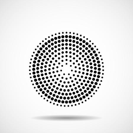 Cerchi tratteggiati in linea. Puntini in forma circolare. Elemento di disegno vettoriale Vettoriali