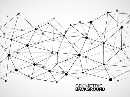 도트 및 선을 연결하는 추상적 인 기하학적 배경. 현대 기술 개념입니다. 다각형 구조