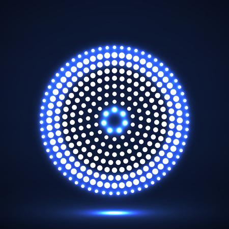 Abstrakte glühende punktierte Kreise. Punkte in Kreisform. Vektor Gestaltungselement Vektorgrafik