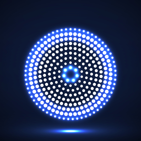 Cerchi punteggiati d'ardore astratti. Punti in forma circolare. Elemento di design vettoriale Vettoriali