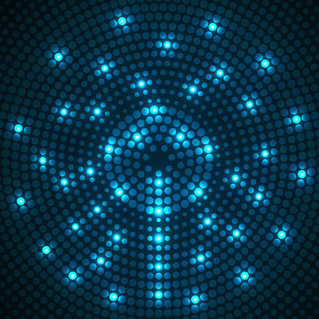 Resumen de puntos de fondo punteado. Patrón radial Vector