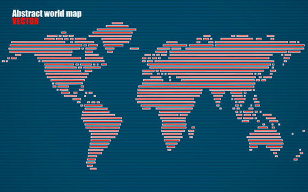 americas: Abstract World map with lines. World stripes map. Vector