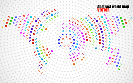 the americas: Abstract colorful world map of radial dots. Vector