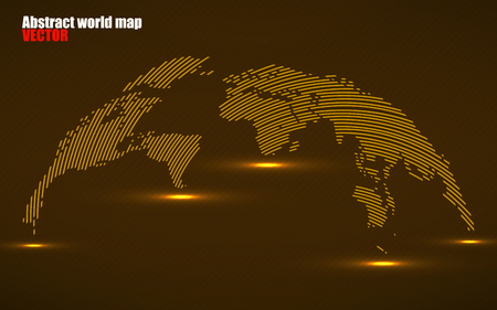 Abstract World map with lines. World stripes map, technology style. Vector illustration