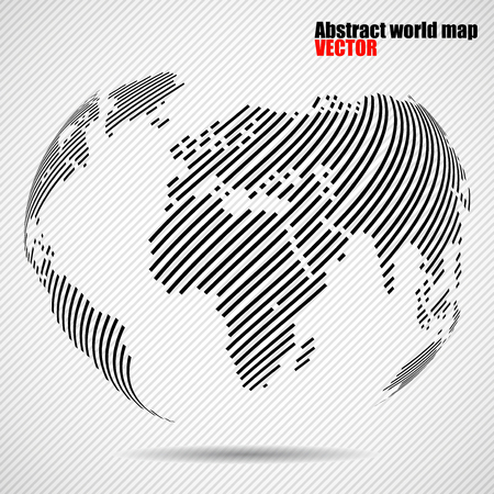 americas: Abstract globe earth of with lines. World stripes map. Vector Illustration