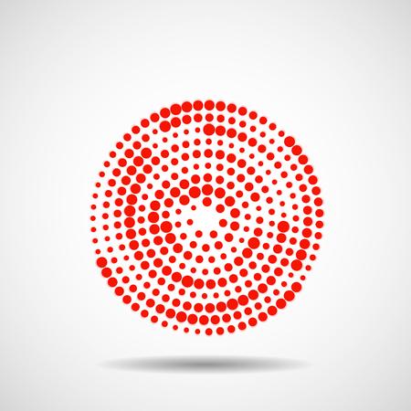 Cerchi tratteggiati in linea. Punti colorati in forma circolare. Elemento di disegno vettoriale.