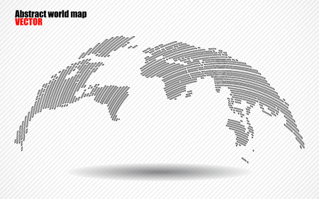 Abstract World map with lines. World stripes map.