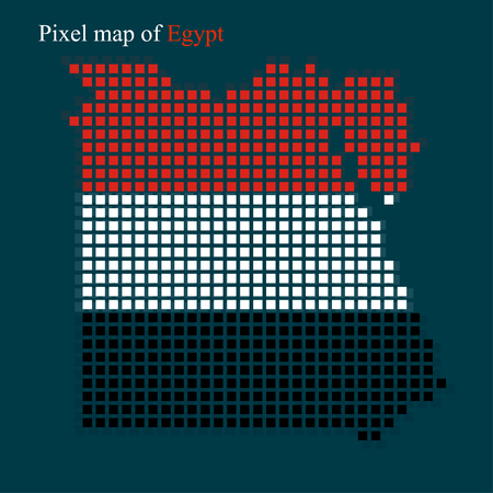 bandera de egipto: Mapa del pixel de Egipto con la bandera dentro.