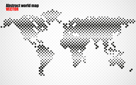 americas: Abstract halftone world map.