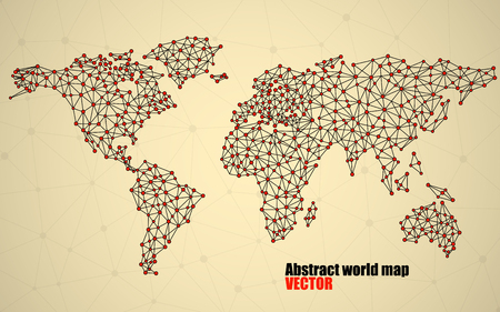 the americas: Abstract polygonal world map with dots and lines, network connections Illustration