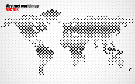 americas: Abstract halftone world map. Vector Illustration