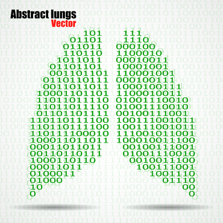 Abstract human lungs with binary computer code. Vector illustration.