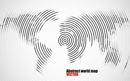 global communication: Abstract world map of radial lines, technology style. Vector Illustration