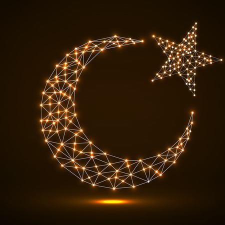 Abstract crescent moon and star from glowing polygonal lines and dots. Religion symbol. Vector