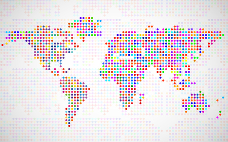 americas: Abstract world map from colorful dots. Vector illustration. Eps 10
