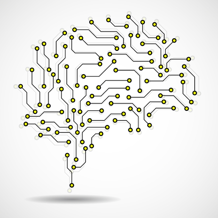 Technological brain. Circuit board. Abstract vector background Illustration