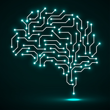Technological neon brain. Circuit board. Abstract vector background Illustration