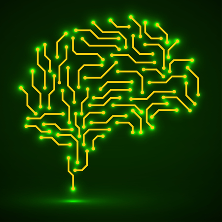 Technological neon brain. Circuit board. Abstract vector background Ilustração