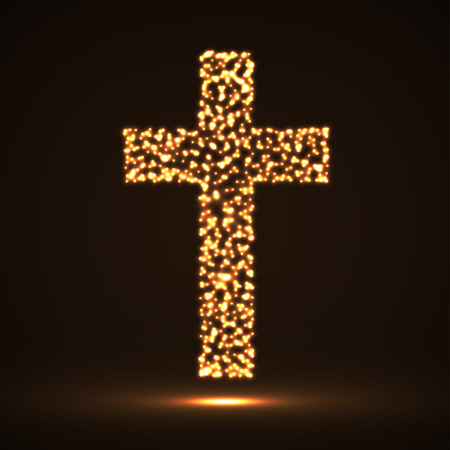 orthodoxy: Abstract cross of glowing particles, christian symbol, abstract sign