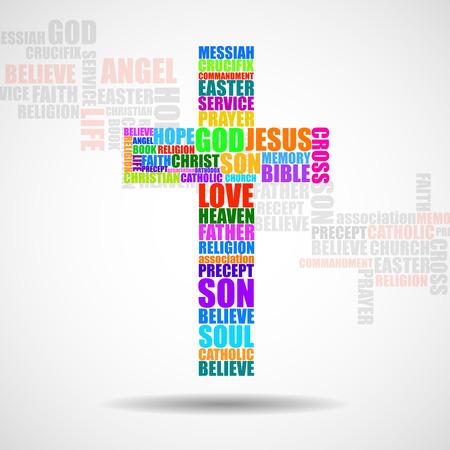 catholicism: Cross of religious words. Christian Symbol. Vector
