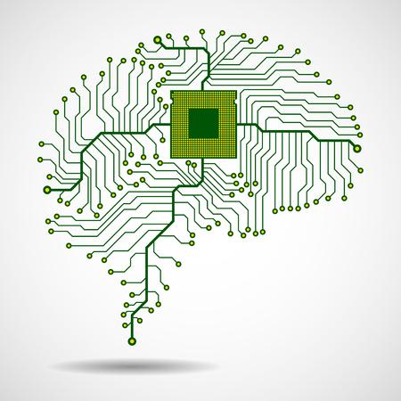 Cerveau technologique abstrait. CPU. Planche de circuit. Vecteur