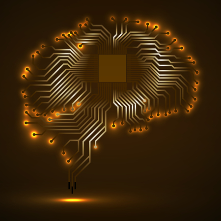 processors: Abstract technological glowing brain. Cpu. Circuit board. Vector