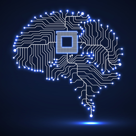 Abstract technological glowing brain. Cpu. Circuit board. Vector