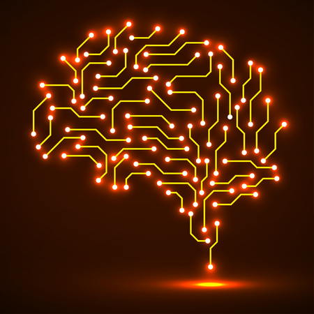 Technological neon brain. Circuit board. Abstract vector background