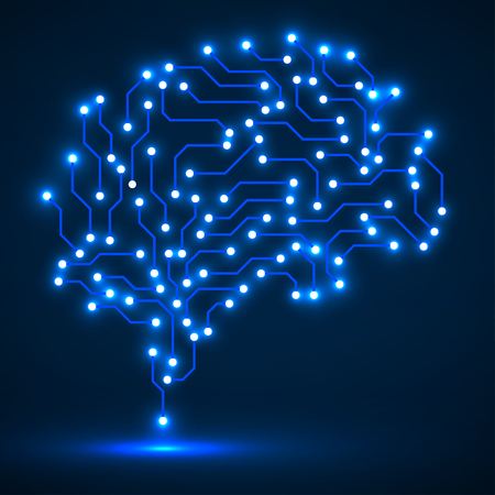Technological neon brain. Circuit board. Abstract vector background Çizim