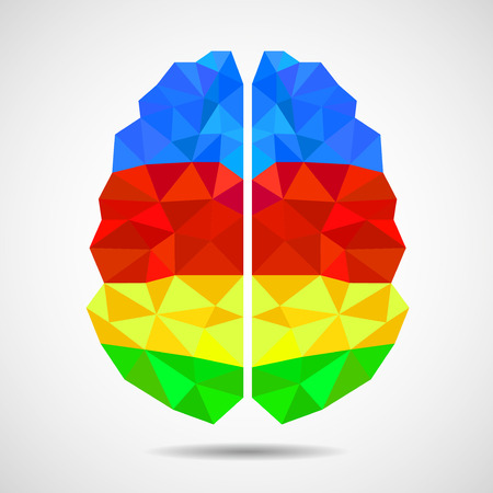 Abstract geometric human brain from colorful shapes