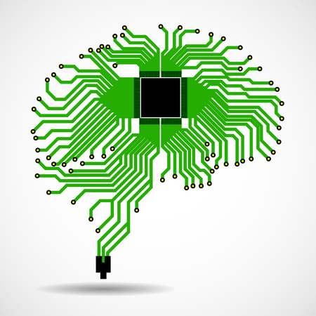 Abstract technological brain Vector illustration
